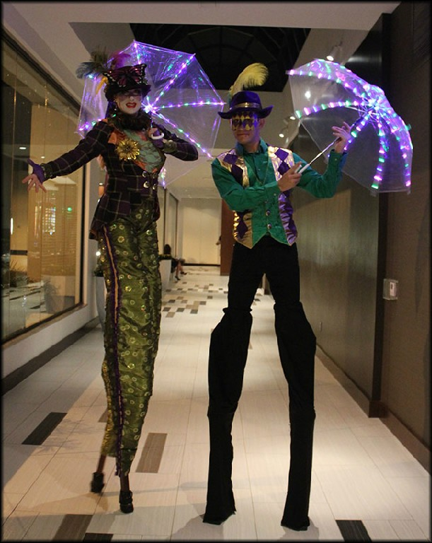 mardi gras stilt walkers